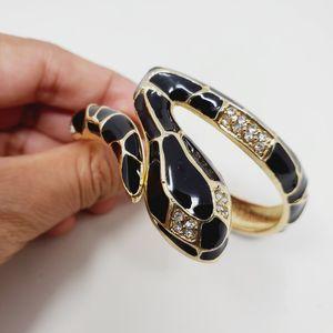 Black Enamel Snake Bangle Rhinestone Bracelet